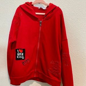 MAYORAL SZ 8 GIRLS RED I LOVE ROCK ROLL HOODIE
